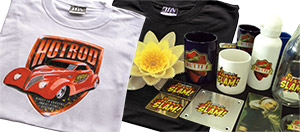 T-shirts, cups, bottles
